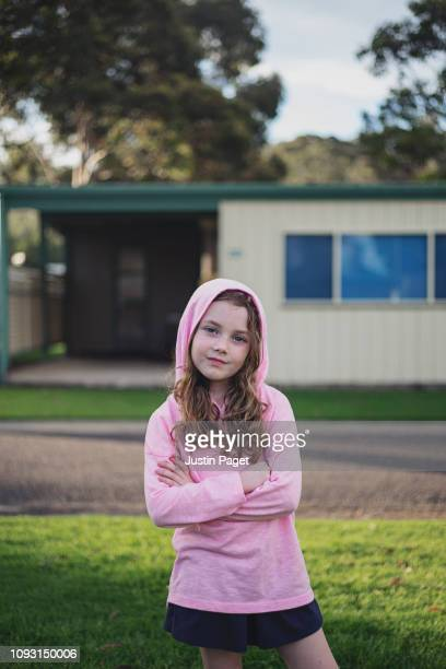 portrait of young girl in trailer park - 少女一人 ストックフォトと画像
