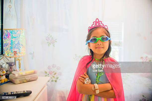 portrait of young girl wearing fancy dress costume - little girls with no clothes on stock photos and pictures