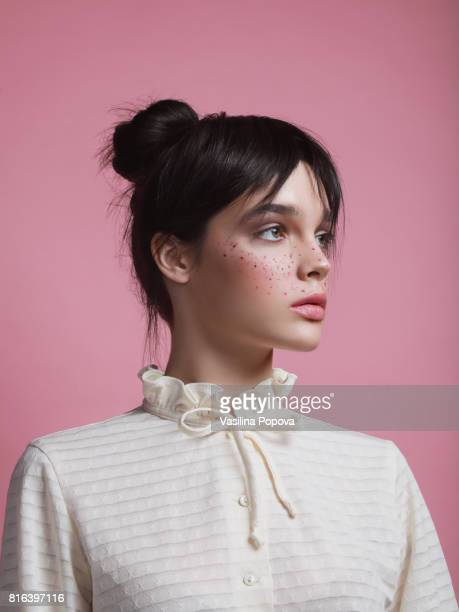 portrait of young girl with freckles - pink lipstick stock photos and pictures
