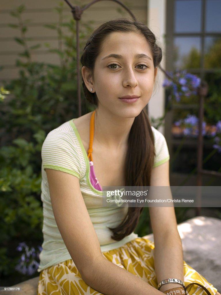 portrait of young girl with long dark hair : Foto de stock