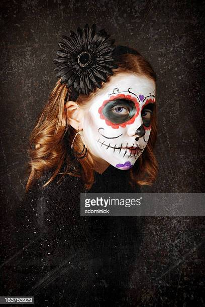 Portrait of Young Girl With Sugar Skull Make Up