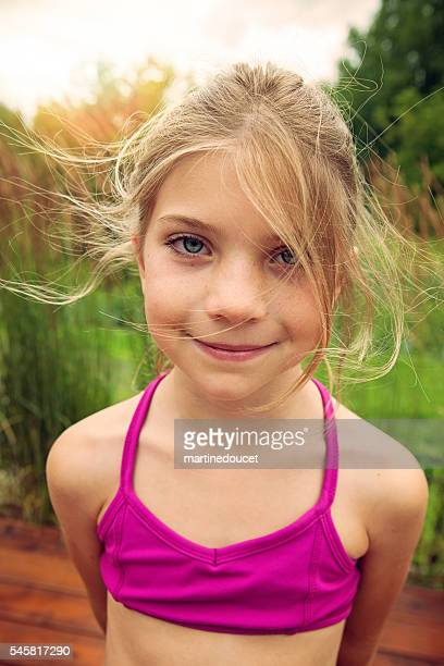 "portrait of young girl with tousled hair outdoors in summer. - ""martine doucet"" or martinedoucet bildbanksfoton och bilder"