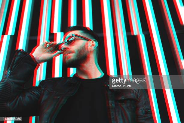 Portrait of young glitched man