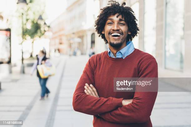 portrait of young happy afro-american man - well dressed stock pictures, royalty-free photos & images