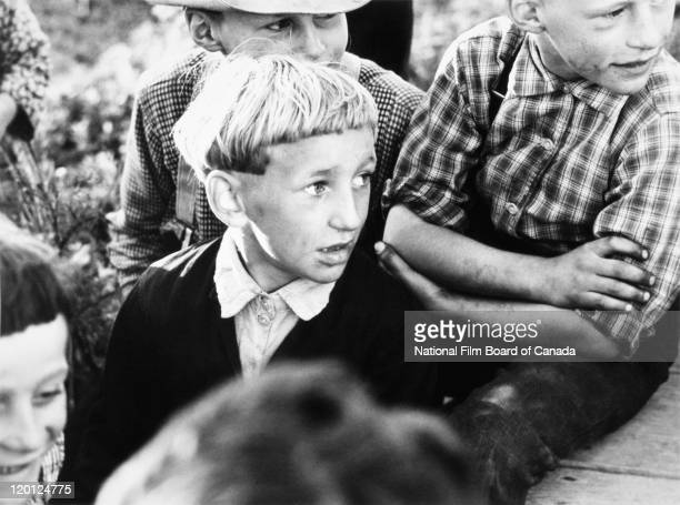 Portrait of young Hutterite boys Northeast Alberta Canada 1963 Photo taken during the National Film Board of Canada's production of 'The Hutterites'