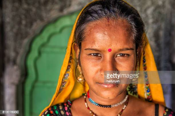 portrait of young indian woman, amber, india - bindi stock pictures, royalty-free photos & images