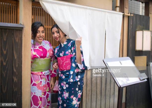 portrait of young Italian girls in Kimono after lunch at Japanese restaurant