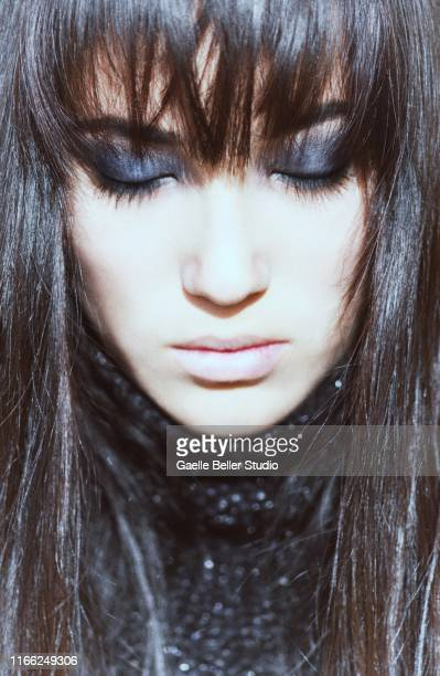 portrait of young japanese female face with eyes closed - smokey eyeshadow stock pictures, royalty-free photos & images