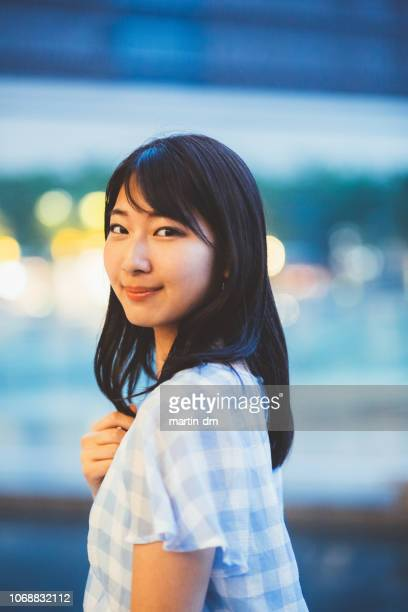 portrait of young japanese woman - beautiful japanese girls stock photos and pictures