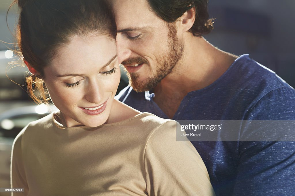 Portrait of young loving couple, close up : Stock Photo