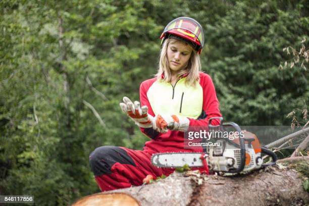 Portrait of Young Lumberjack Woman