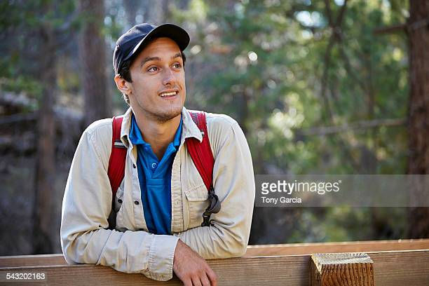 portrait of young male hiker in forest, los angeles, california, usa - 野球帽 ストックフォトと画像