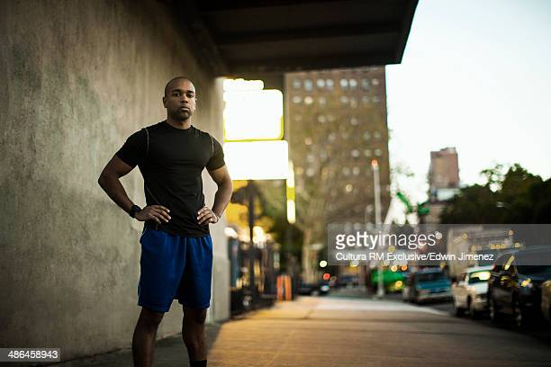 Portrait of young male runner, New York City, USA