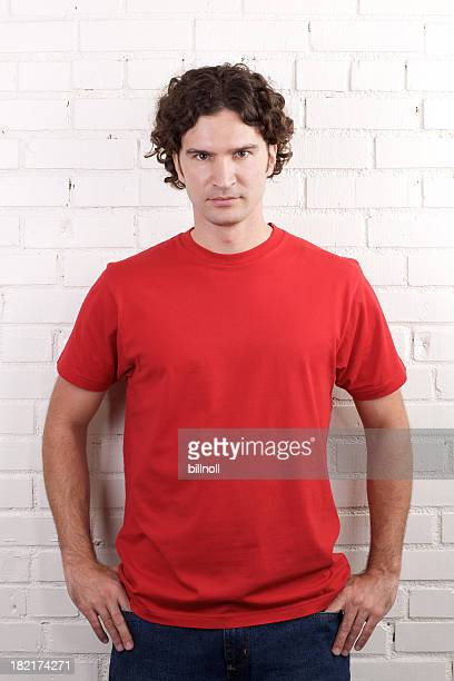 portrait of young male with red shirt - red shirt stock pictures, royalty-free photos & images