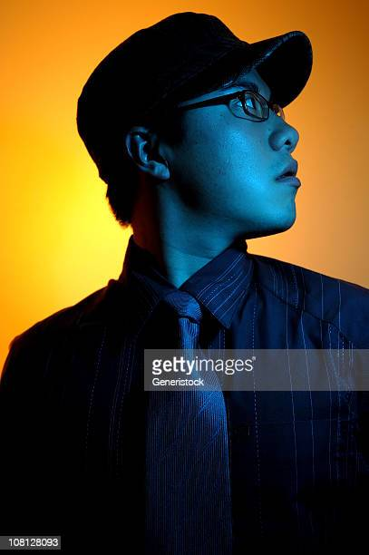 portrait of young man, blue toned - gel effect lighting stock photos and pictures