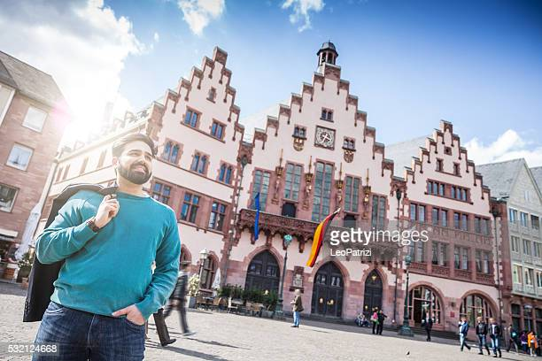 portrait of young man in central frankfurt - hesse germany stock pictures, royalty-free photos & images