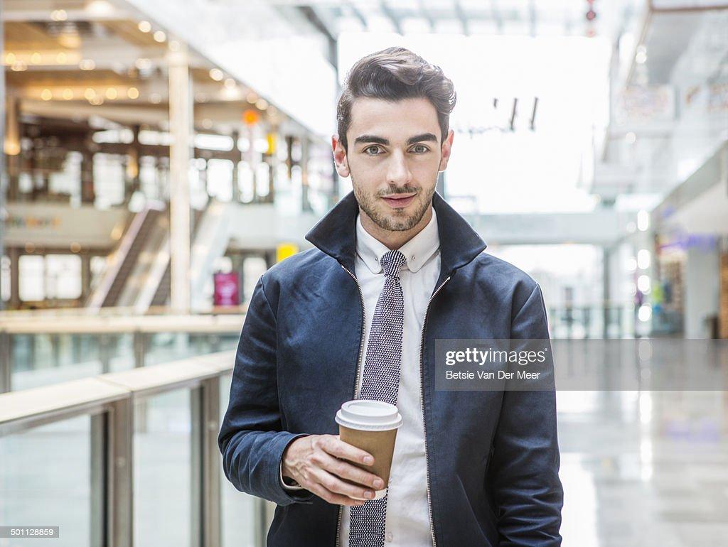 portrait of young man in indoor urban area. : Stock Photo