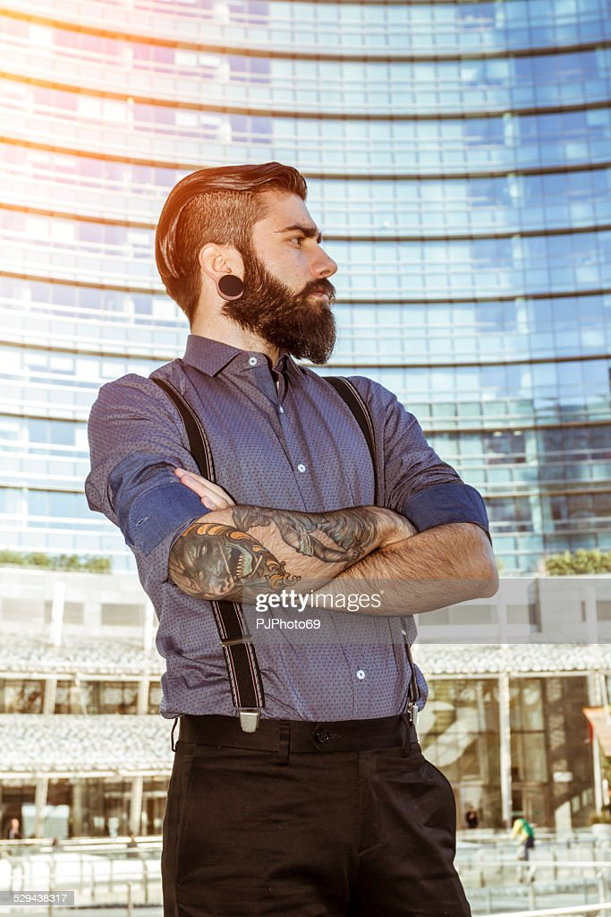 Portrait of Young man (Hipster style) : Stock Photo