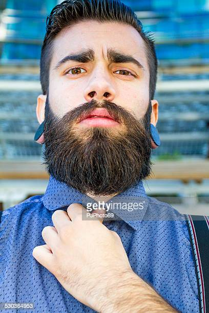 portrait of young man (hipster style) - pjphoto69 stockfoto's en -beelden
