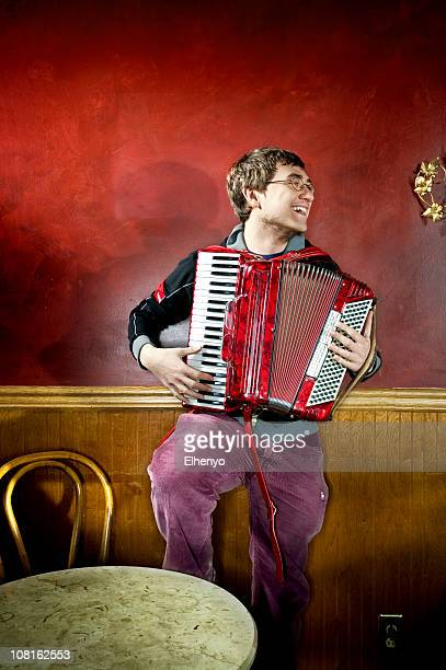 Portrait of Young Man Playing Jazz Accordian
