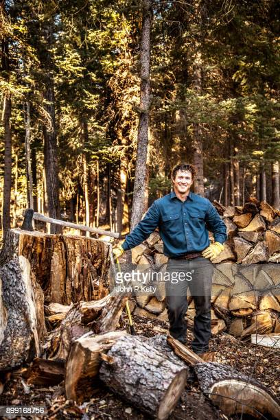 portrait of young man standing with axe after chopping wood - コロラド州 ニューキャッスル ストックフォトと画像