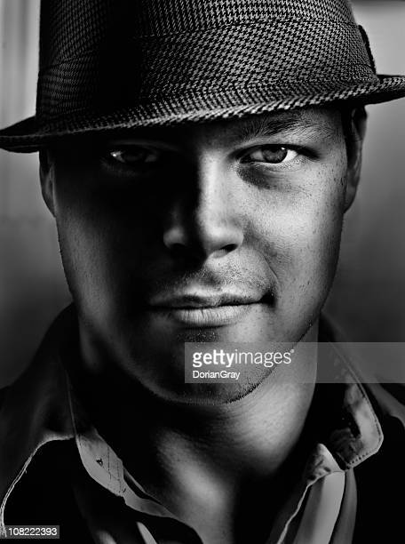 Portrait of Young Man Wearing Hat, Black and White