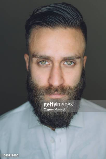 portrait of young man with beard, close-up - beard stock pictures, royalty-free photos & images