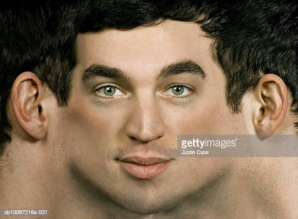 Portrait of young man with digitally stretched face (Digital Composite)