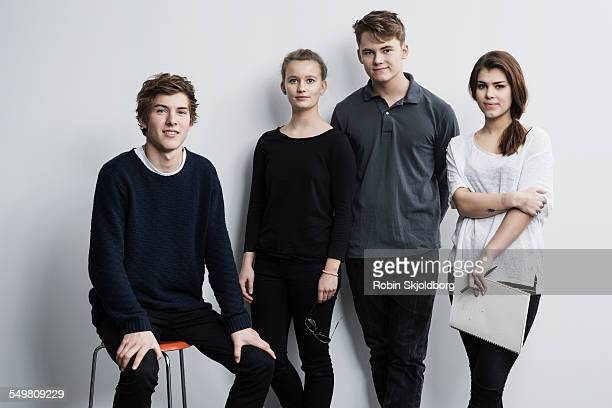 Portrait of young men and women