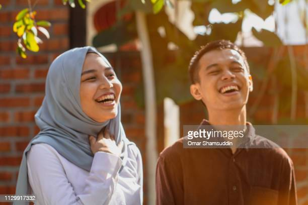 Portrait of young Muslim couple having a good time