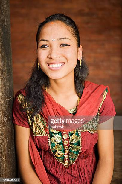 Portrait of young Nepali girl wearing traditional costume, Bhaktapur.