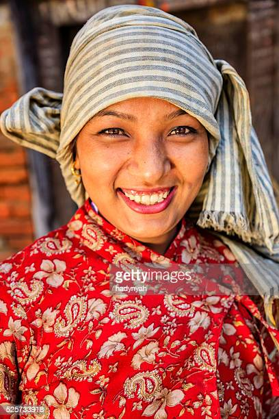 Portrait of young Nepali woman in Bhaktapur, Nepal
