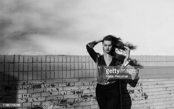 portrait of young sensual woman. - fashion week stock-fotos und bilder