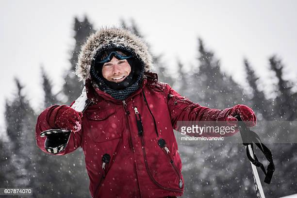 portrait of young skier - parka coat stock photos and pictures