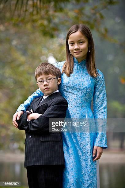 Portrait of young Vietnamese American siblings RELEASED