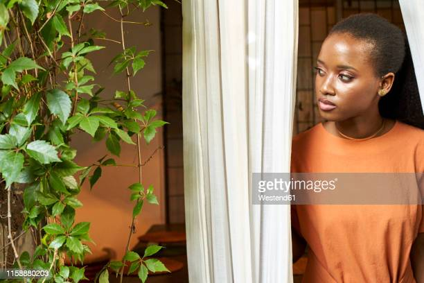 portrait of young woman at the window - orange dress stock pictures, royalty-free photos & images