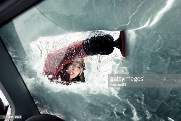 portrait of young woman cleaning snow from car's windscreen - winter weather stock pictures, royalty-free photos & images