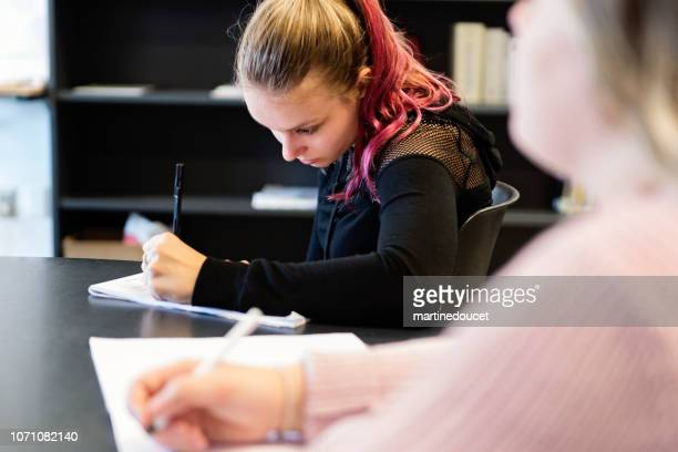 教室で働く若い女性の大学生の肖像画。