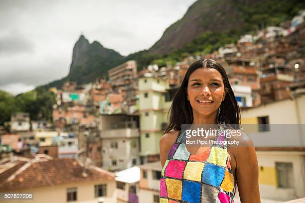 Portrait of young woman, Favela Santa Marta, Rio de Janeiro Brazil