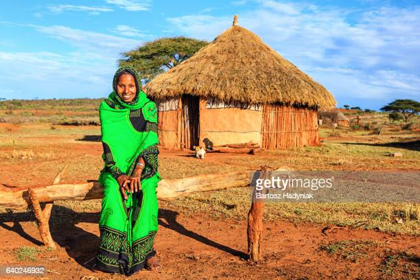 portrait of young woman from borana, ethiopia, africa - hut stock pictures, royalty-free photos & images