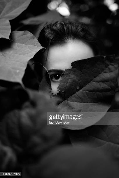 portrait of young woman hiding behind leaves - art bildbanksfoton och bilder