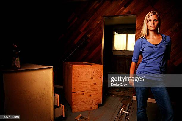 Portrait of Young Woman in Abandoned House