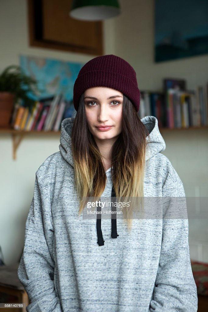 Portrait of young woman in cafe : Stock Photo