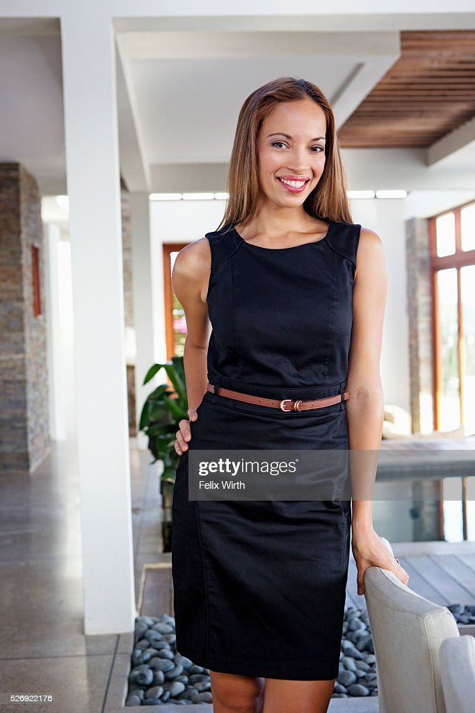Portrait of young woman in modern home : Foto de stock
