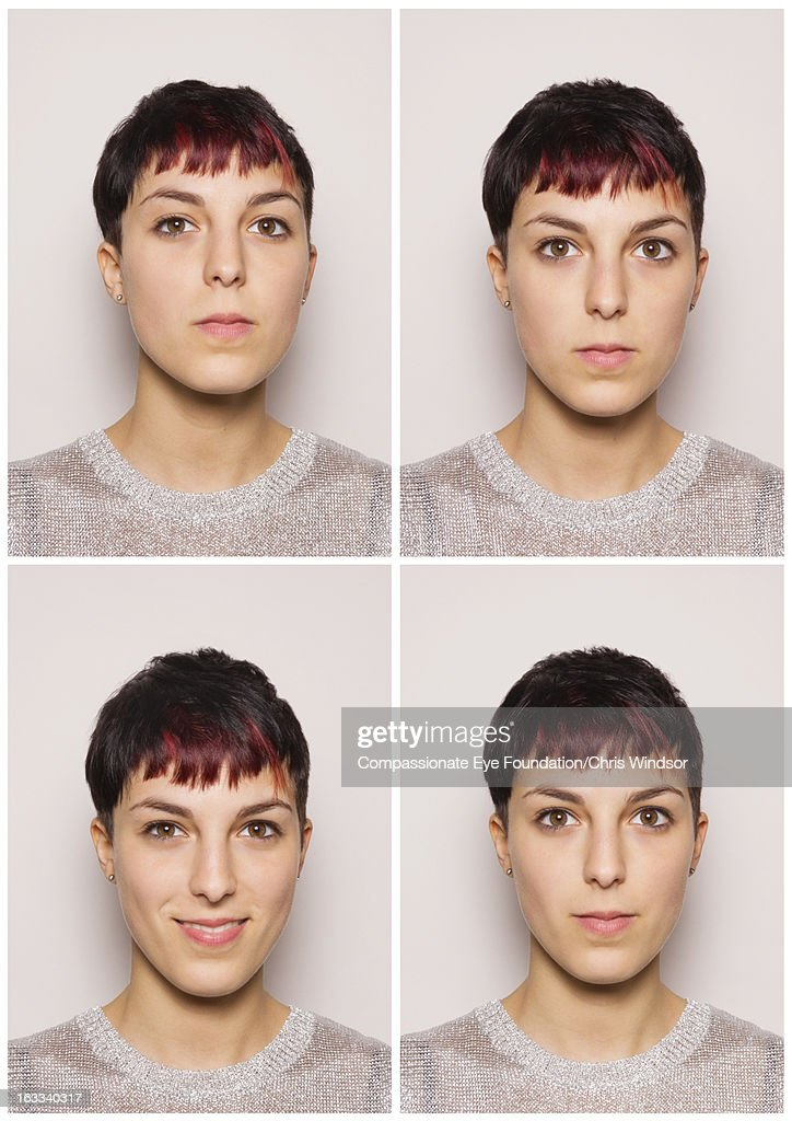 Portrait of young woman in photo booth : Stock Photo