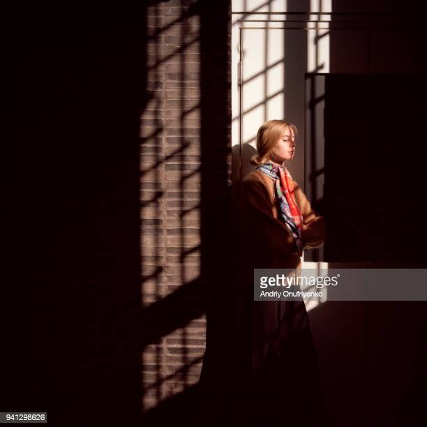 portrait of young woman in shadow sunlight direct - junge frau rätsel stock-fotos und bilder