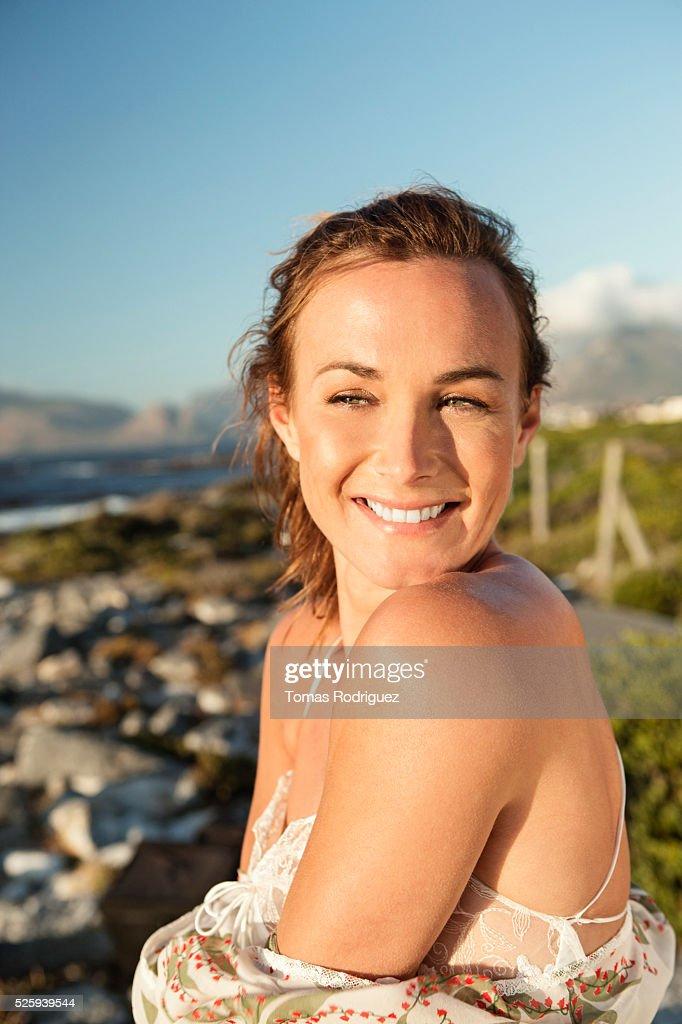 Portrait of young woman in summer dress : Foto de stock