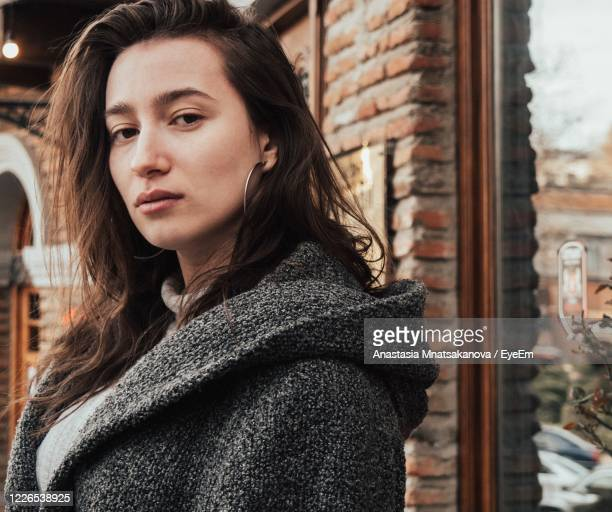 portrait of young woman in winter - caucasus stock pictures, royalty-free photos & images