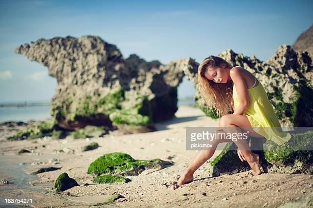 portrait of young woman on beach - hot model indonesia stock pictures, royalty-free photos & images