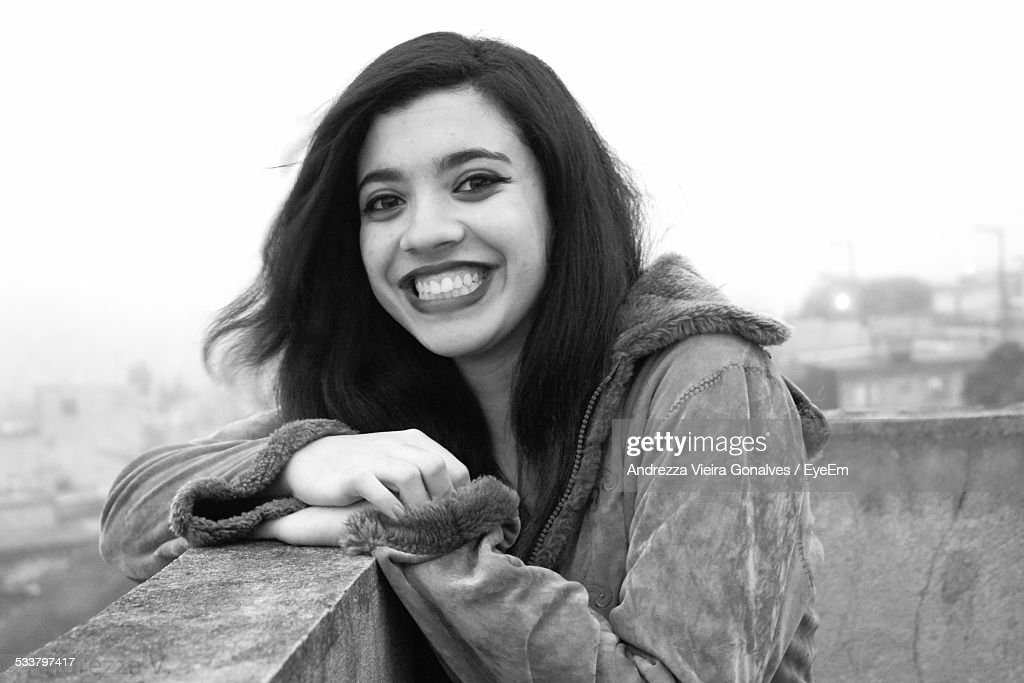 Portrait Of Young Woman On Roof : Foto stock